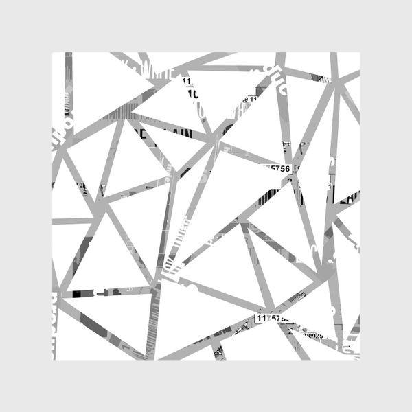 Шторы «Треугольная структура с шрифтовым коллажем»
