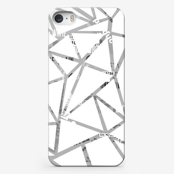 Чехол iPhone «Треугольная структура с шрифтовым коллажем»