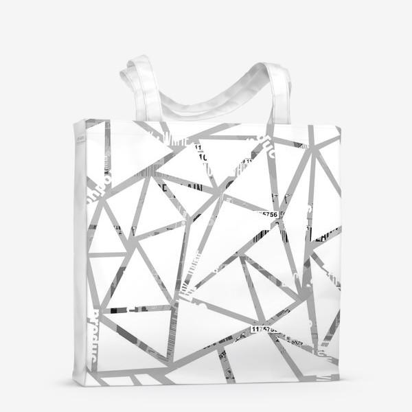 Сумка-шоппер «Треугольная структура с шрифтовым коллажем»