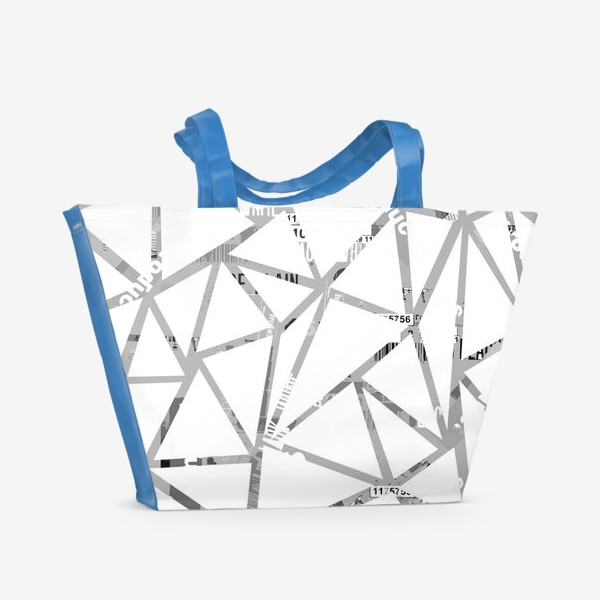 Пляжная сумка «Треугольная структура с шрифтовым коллажем»