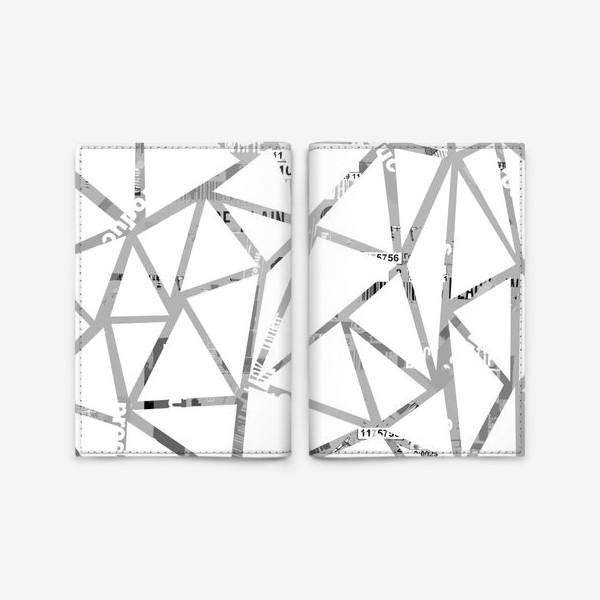 Обложка для паспорта «Треугольная структура с шрифтовым коллажем»