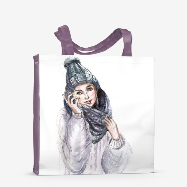 Сумка-шоппер «Девушка в зимней шапке и шарфе»