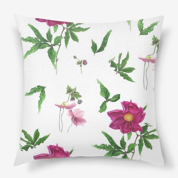 Подушка «Розовые пионы и анемоны с листьями»