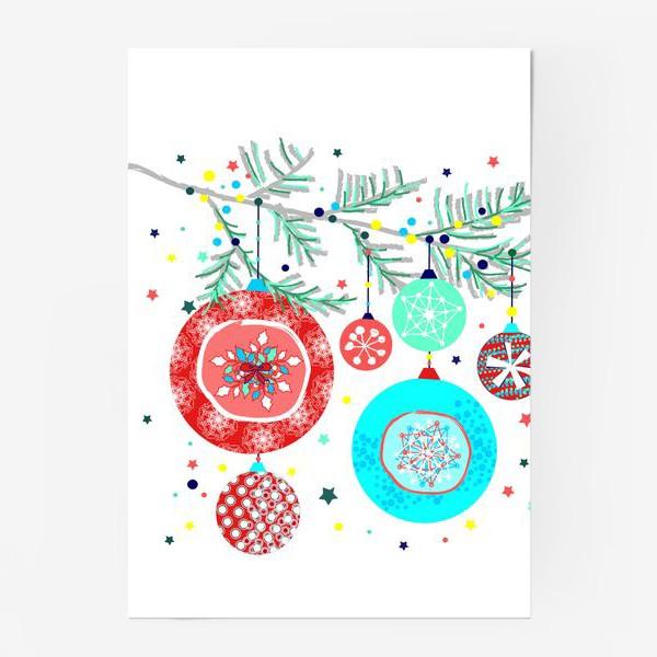 Постер «Новый год украшения елка шары иллюстрация конфетти»
