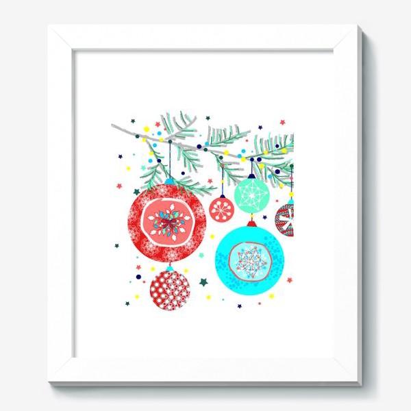 Картина «Новый год украшения елка шары иллюстрация конфетти»