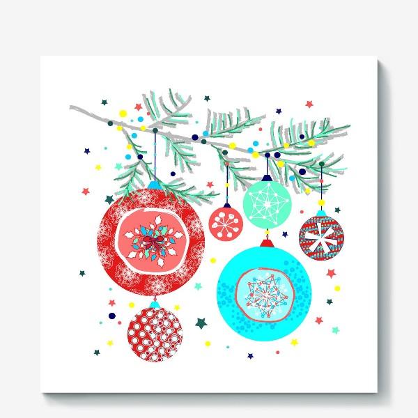Холст «Новый год украшения елка шары иллюстрация конфетти»
