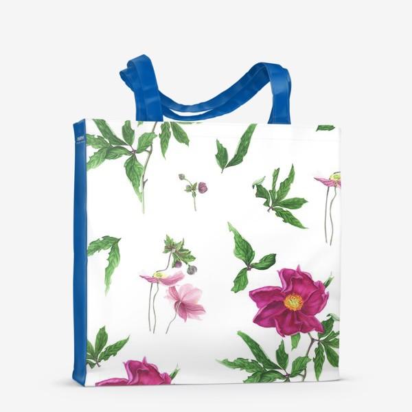 Сумка-шоппер «Розовые пионы и анемоны с листьями»