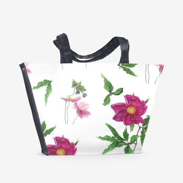 Пляжная сумка «Розовые пионы и анемоны с листьями»