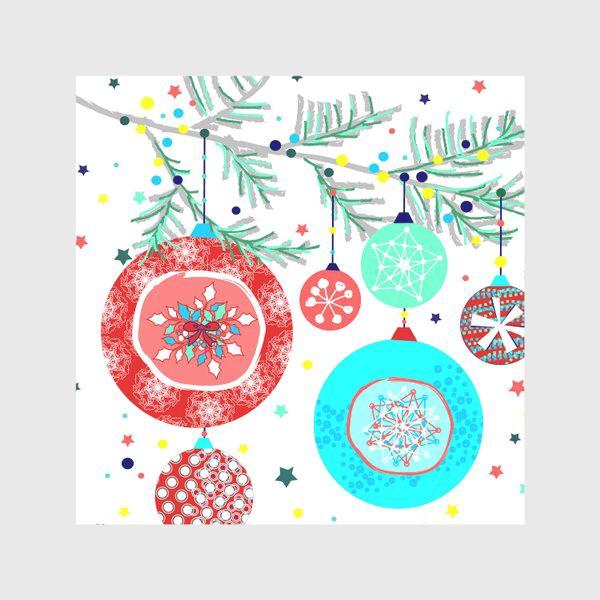 Скатерть «Новый год украшения елка шары иллюстрация конфетти»