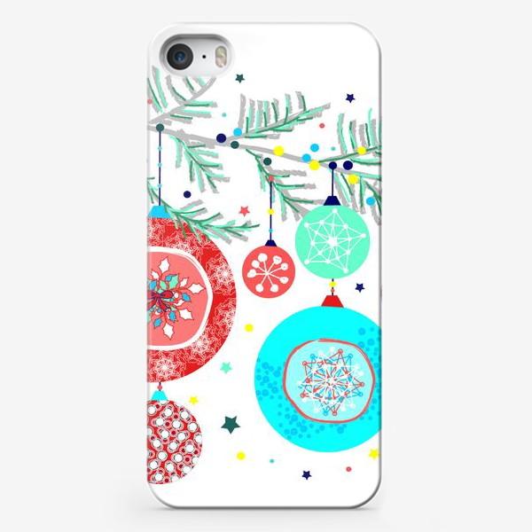Чехол iPhone «Новый год украшения елка шары иллюстрация конфетти»