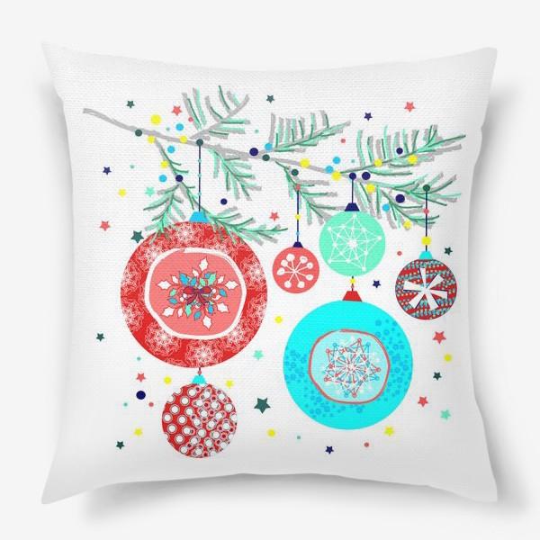 Подушка «Новый год украшения елка шары иллюстрация конфетти»