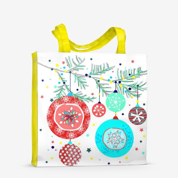Сумка-шоппер «Новый год украшения елка шары иллюстрация конфетти»