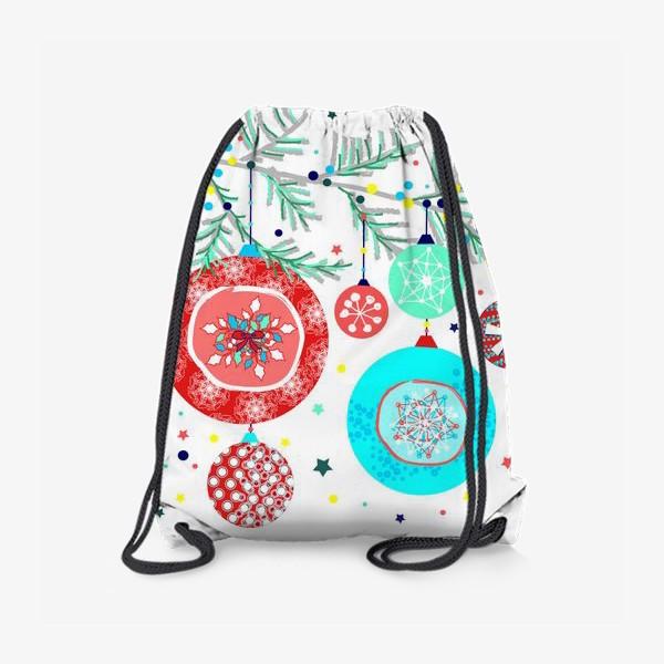 Рюкзак «Новый год украшения елка шары иллюстрация конфетти»