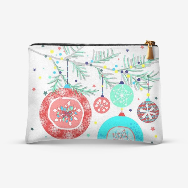 Косметичка «Новый год украшения елка шары иллюстрация конфетти»