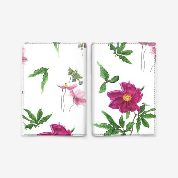 Обложка для паспорта «Розовые пионы и анемоны с листьями»