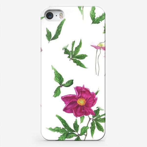 Чехол iPhone «Розовые пионы и анемоны с листьями»
