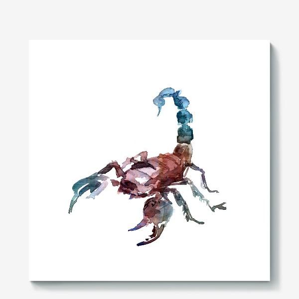 Холст «Скорпион. Акварельная серия животных.»