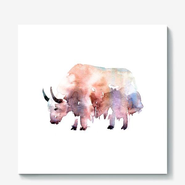 Холст «Тибетский бык. Акварельная серия животных»