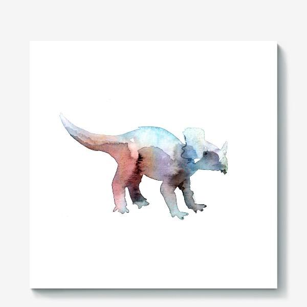 Холст «Динозаврик акварельный.»