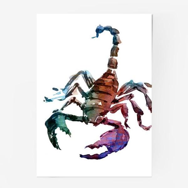Постер «Опасный скорпион. Акварельная серия животных.»