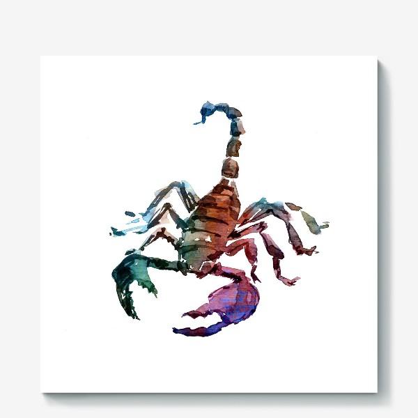 Холст «Опасный скорпион. Акварельная серия животных.»