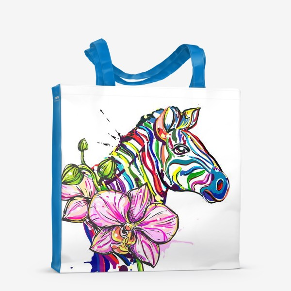 Сумка-шоппер «Разноцветная зебра и орхидея»