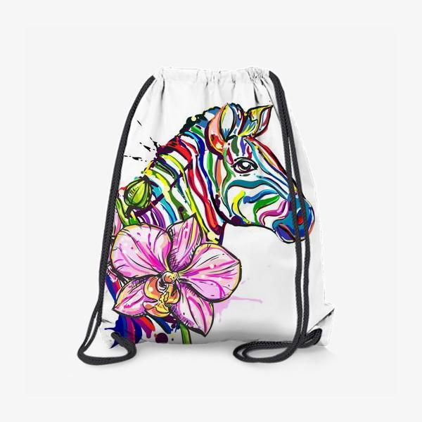 Рюкзак «Разноцветная зебра и орхидея»