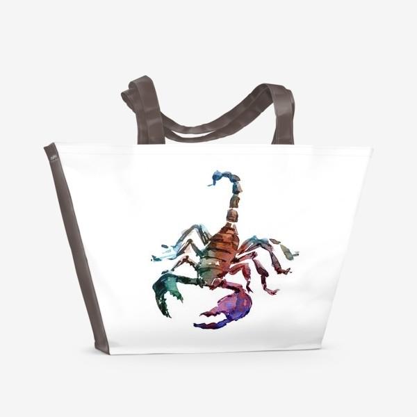 Пляжная сумка «Опасный скорпион. Акварельная серия животных.»