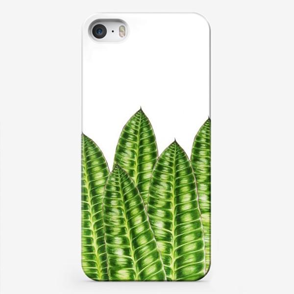 """Чехол iPhone «Принт """"Зеленые листья"""".»"""