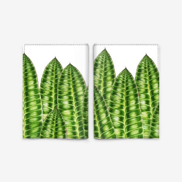 """Обложка для паспорта «Принт """"Зеленые листья"""".»"""