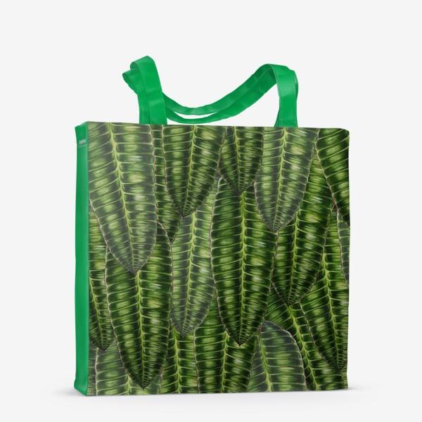"""Сумка-шоппер «Ботаника """" Темно-зеленые листья""""»"""