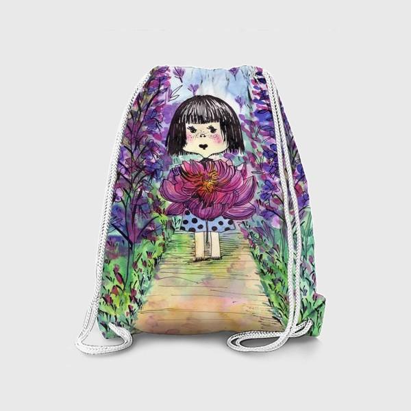 Рюкзак «Девочка и пион»