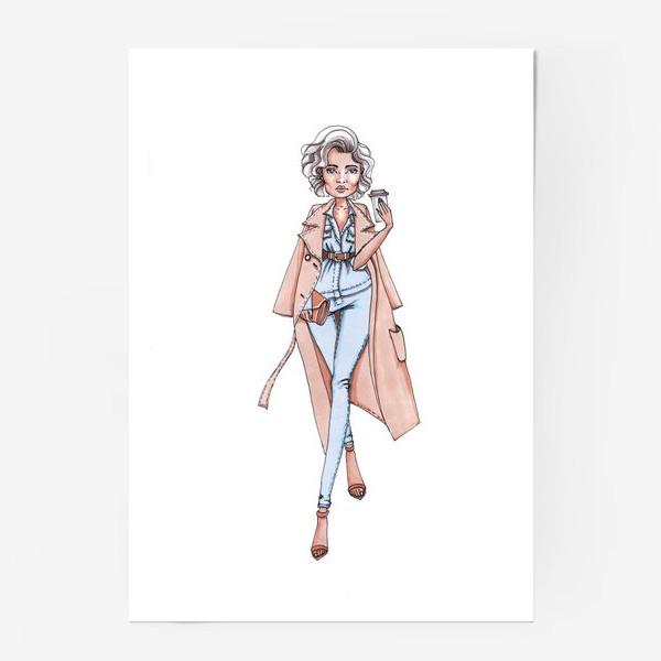 Постер «Стильная городская Леди с кофе»