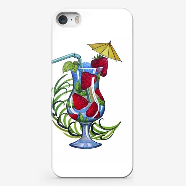 Чехол iPhone «Коктейль с клубникой»