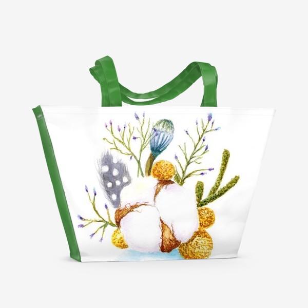 Пляжная сумка «Хлопок,перышки, мимоза-весенний минибукет»