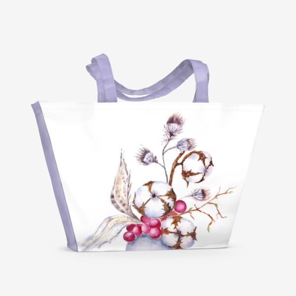 Пляжная сумка «Хлопок, перышки, весна»