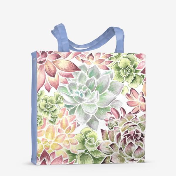 Сумка-шоппер «Разноцветные суккуленты»