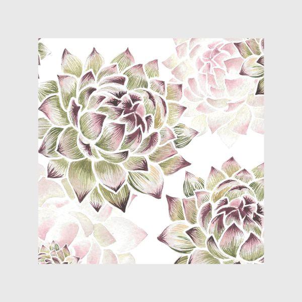 Скатерть «Зелено-розовые акварельные суккуленты»