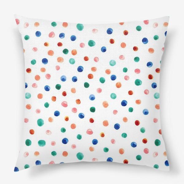 Подушка «Паттерн с акварельными точками»