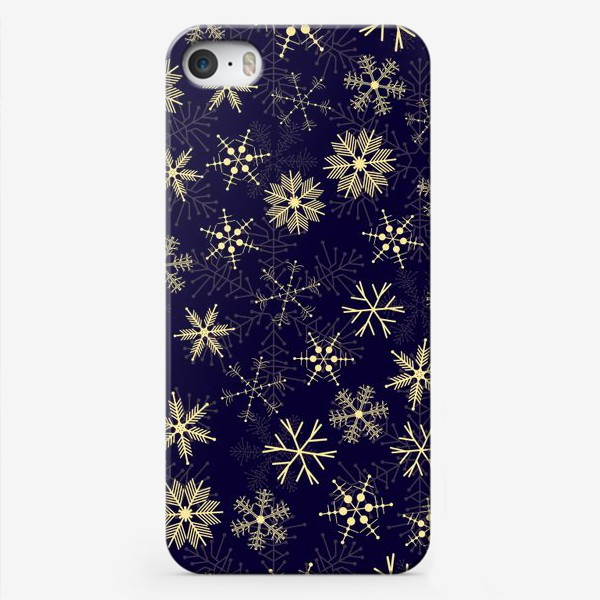 Чехол iPhone «Снежинки на синем фоне»