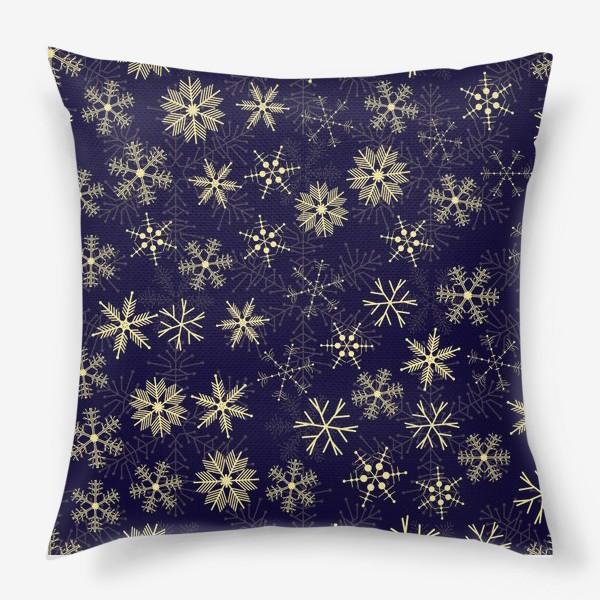 Подушка «Снежинки на синем фоне»