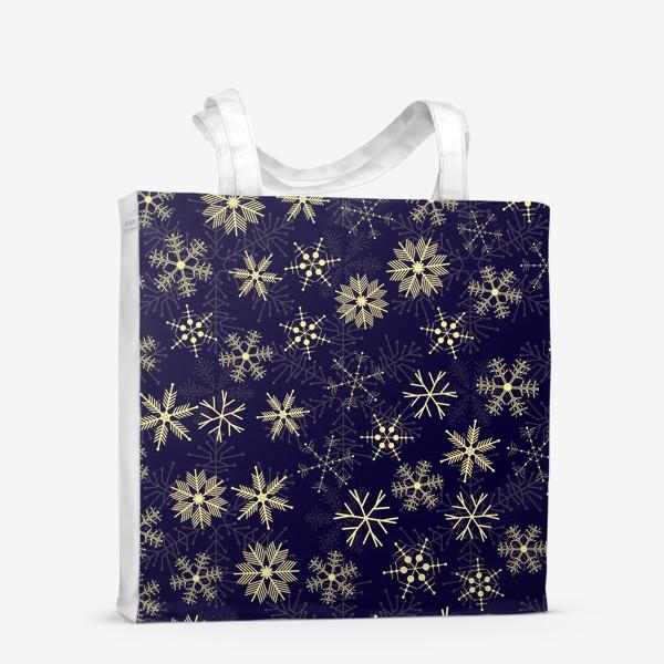 Сумка-шоппер «Снежинки на синем фоне»