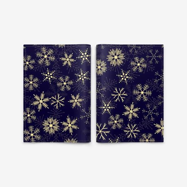 Обложка для паспорта «Снежинки на синем фоне»
