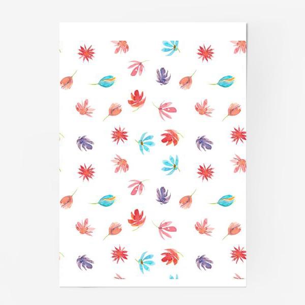 Постер «Паттерн с акварельными цветами»
