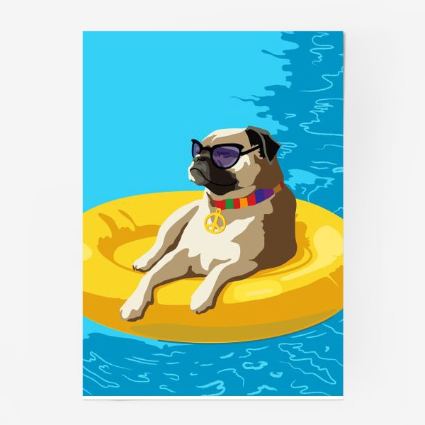Постер «Мопс в бассейне»