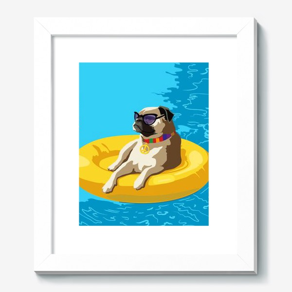 Картина «Мопс в бассейне»