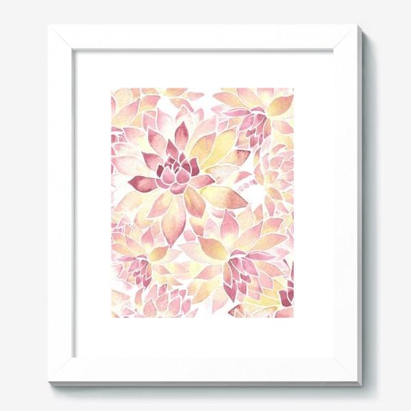 Картина «Розовые акварельные суккуленты»