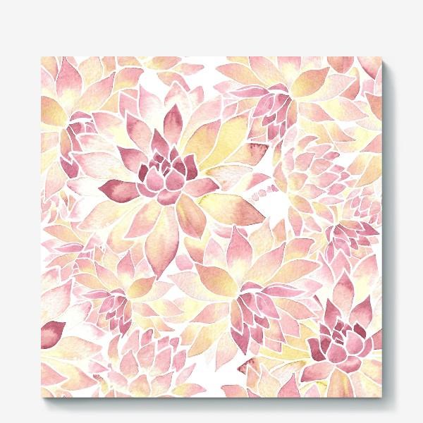 Холст «Розовые акварельные суккуленты»