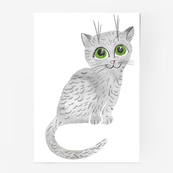 Постер «Милый серый котенок»