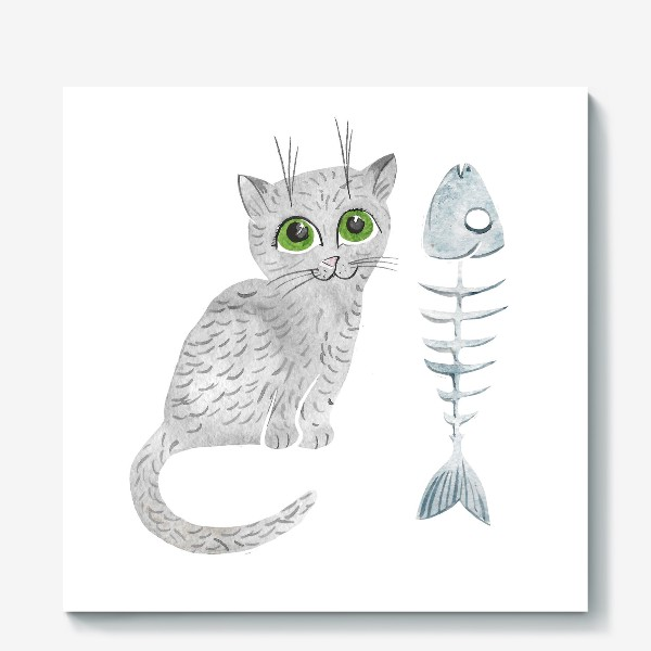 Холст «Милый серый котенок»